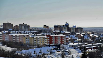 The northern city of Kiruna, Sweden, during winter.