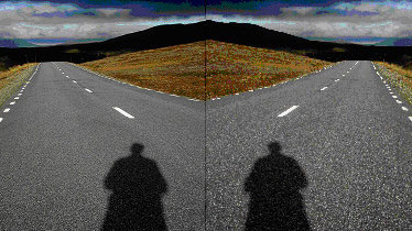 Shadow of a person falls on a asphalt road leading away from the person.