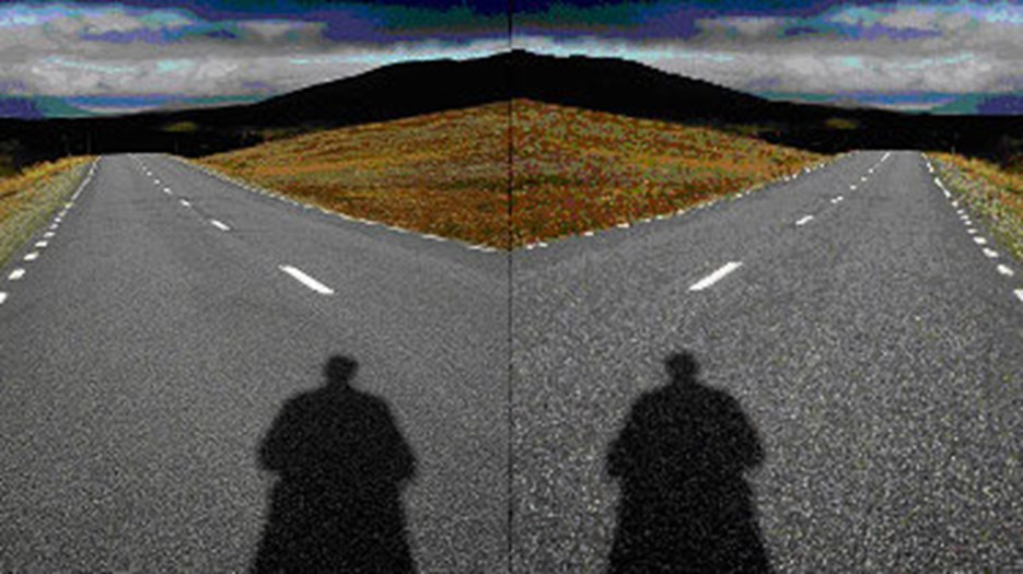 Manipulated photo of two persons standing in front of a crossroad