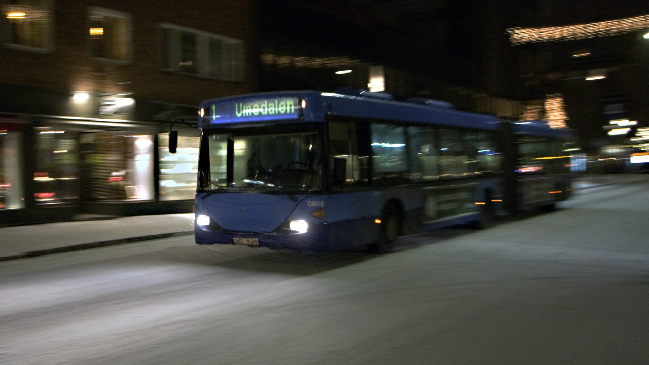Ultra bus at night
