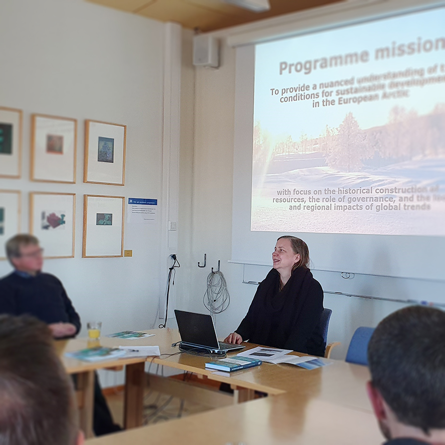 Carina H. Keskitalo, professor at the Department of Geography, held a seminar about the research programme MASD.