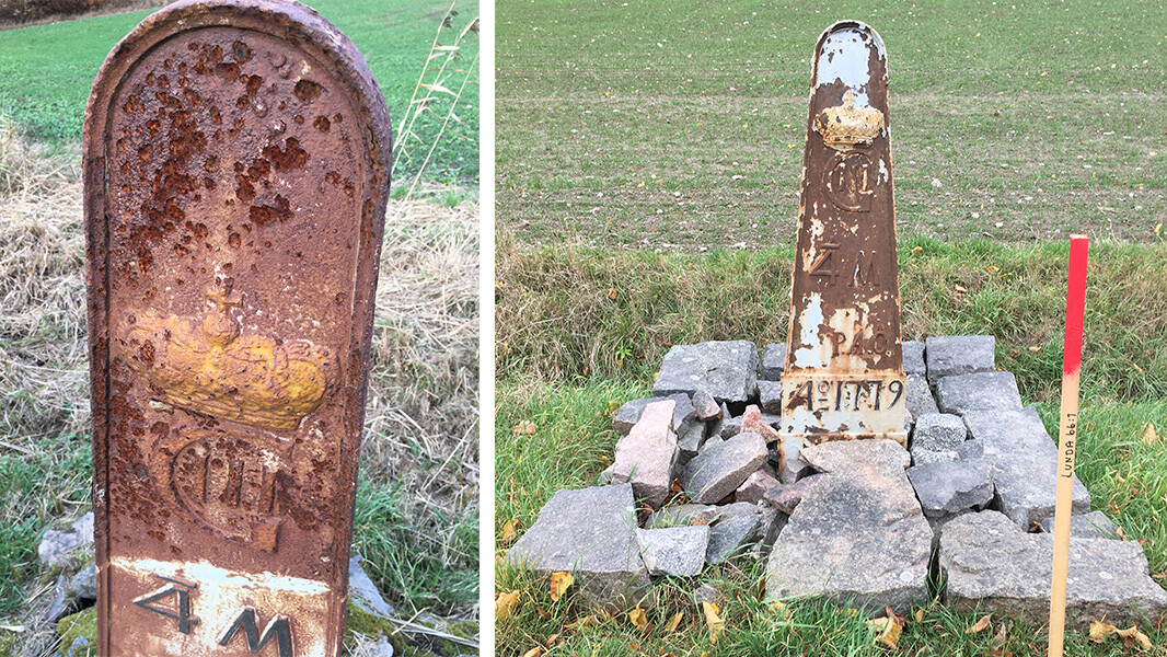 Two milestones damaged by corrosion by road salt.