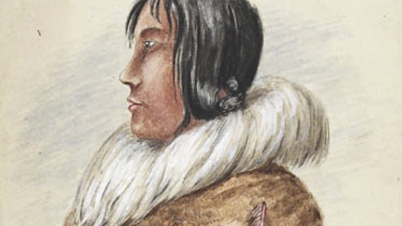 Watercolor painting from 1851 by Canadian natives. The picture shows a man with long, dark hair dressed in beige feathered leather jacket with white fur collar.