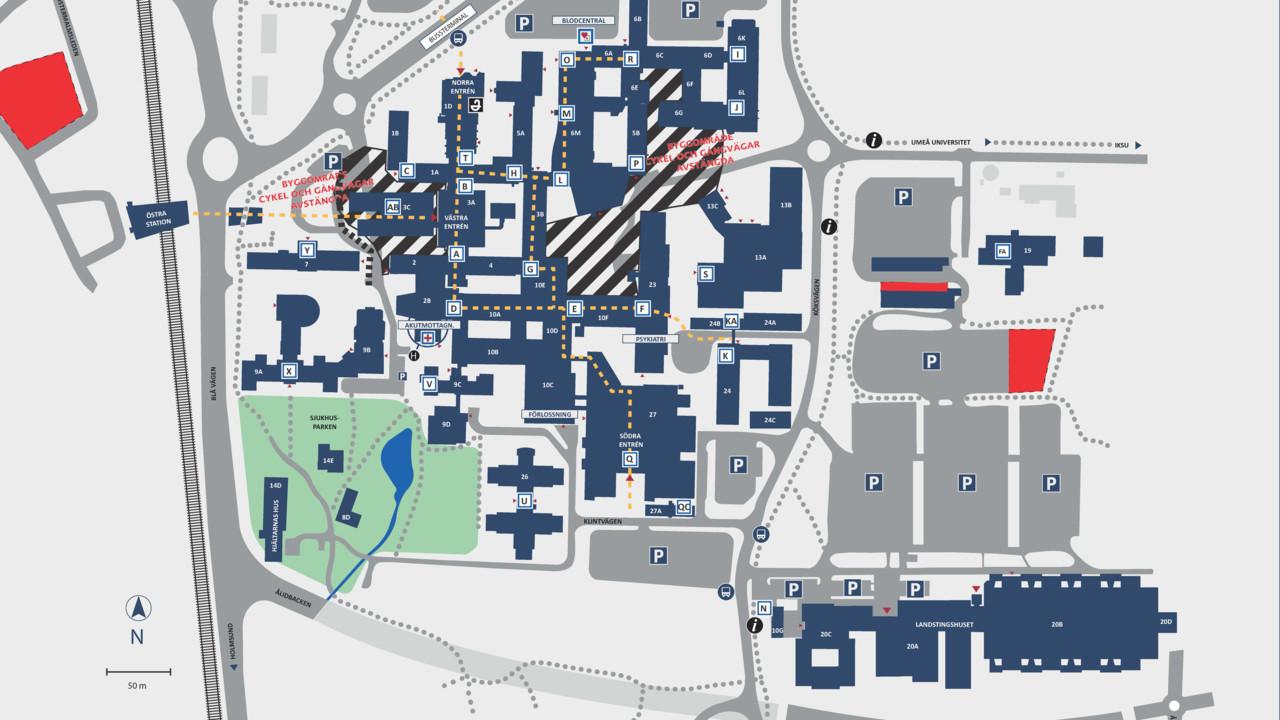Karta Over Norrlands Universitetssjukhus Nus