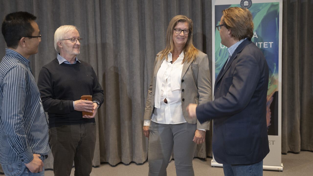 Yaowen Wu, Director of UCMR, Bernt-Eric Uhlin, Post-retirement Professor, Katrine Riklund, Pro-Vice-Chancellor and Oliver Billker, Director of MIMS during the press conference with Emmanuelle Charpentier after the Nobel Prize announcement.