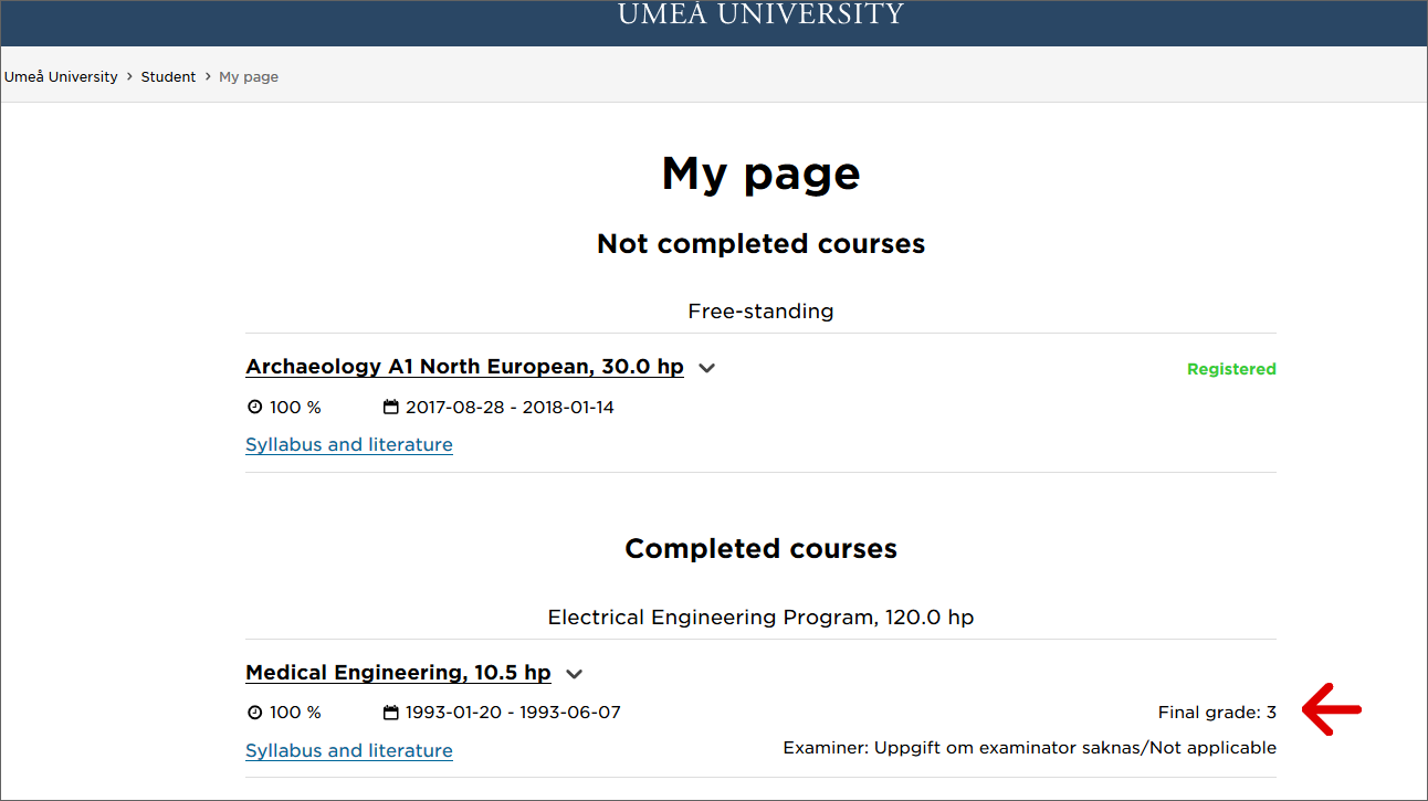 Screenshot showing completed and not completed courses shown on the student website