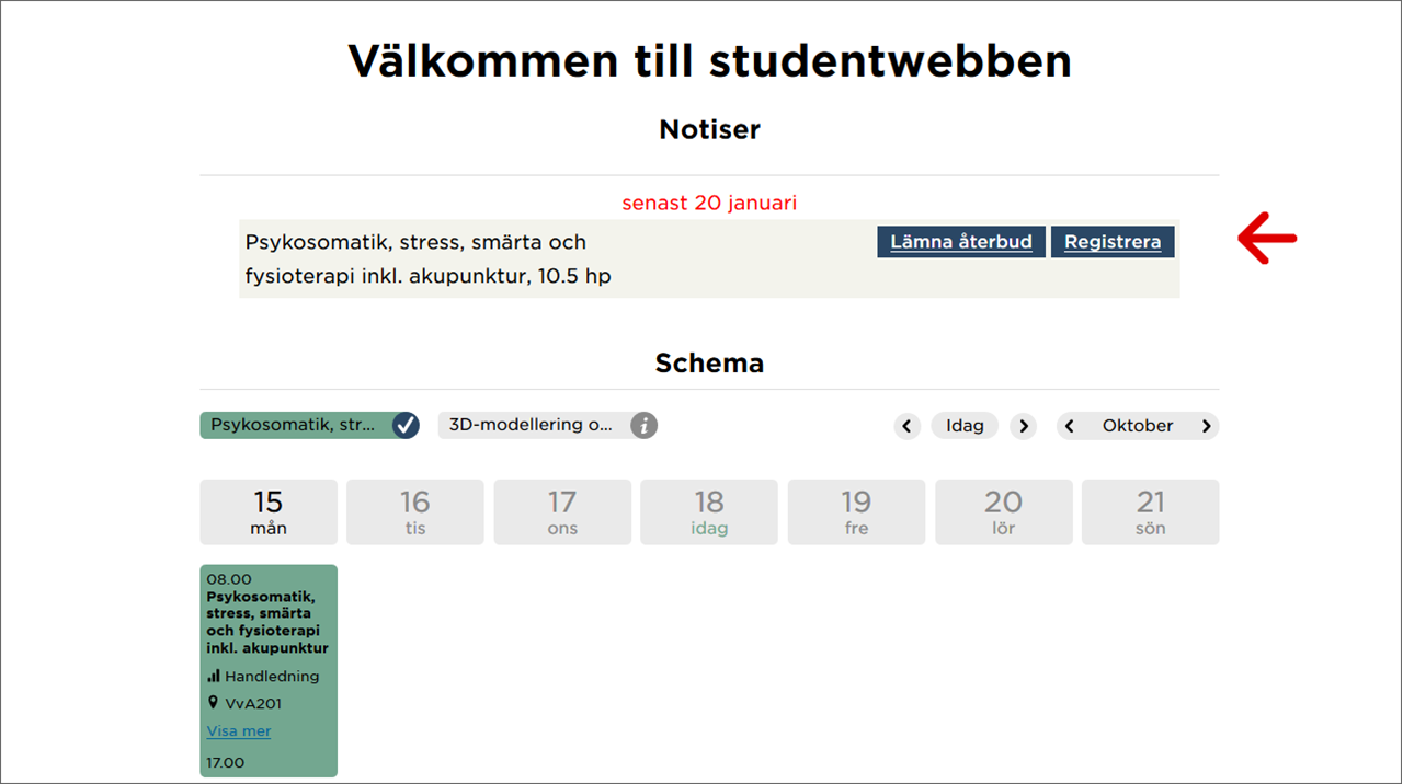 Illustration som visar avisering om registrering under Notiser på studentwebben