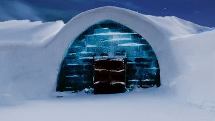 Igloo in blue light