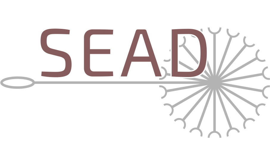 A image of a dandelion with the letters SEAD written across
