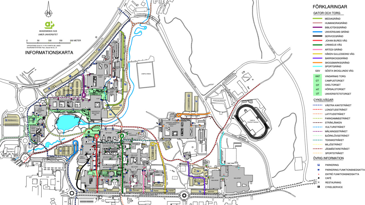Campus Umeå information map with street addresses. Produced by Akademiska hus.