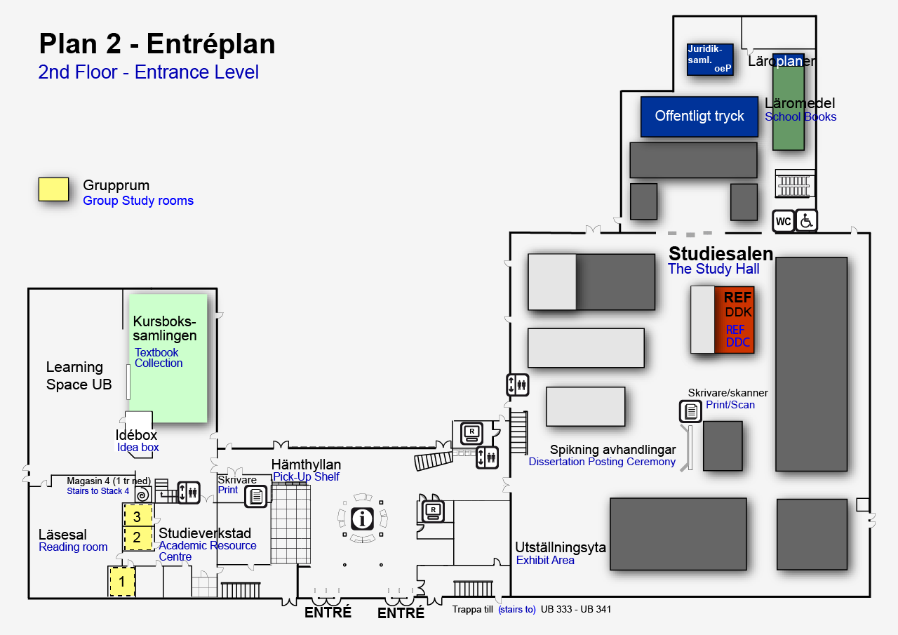 Map of of the University Library (entrance level)