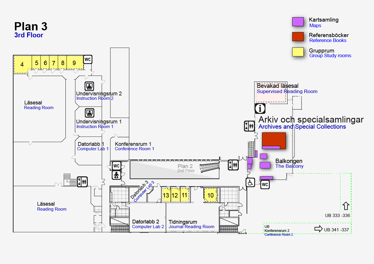 Map of level 3 at the University Library